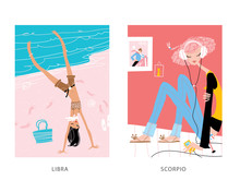 Libra And Scorpio Woman Horoscope Signs. A Girl Listening To The Music And A Girl Doing Handstand.