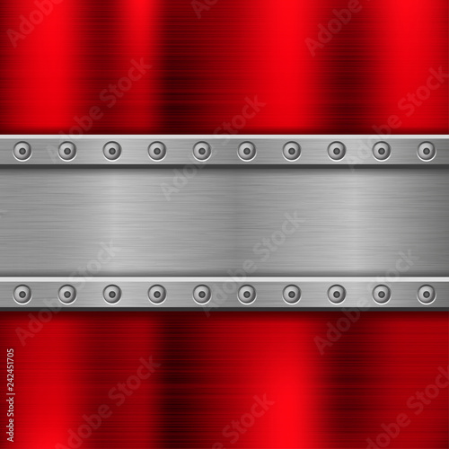 Fotografie, Obraz  Metal background with iron plate with rivets