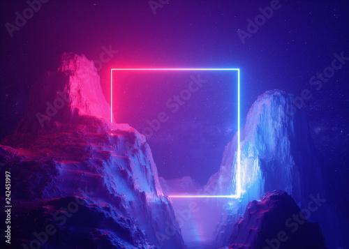 Fotografia 3d render, abstract background, cosmic landscape, square portal, pink blue neon