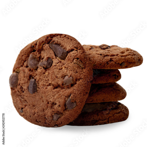 Stack of Dark Chocolate chip cookies with chocolate pieces isolated on white background. Macro image