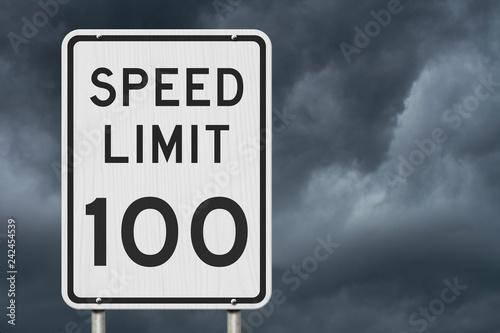 Fotografía  US 100 mph Speed Limit sign
