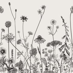 Panel Szklany Podświetlane Florystyczny Floral border. Summer flowers. Vector illustration. Black and white