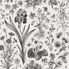 Fototapeta Florystyczny Seamless floral pattern. Vector vintage botanical illustration. Black and white