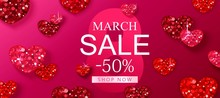 8 March Sale Background With Red Glitter Shiny Hearts. Romantic Design For Flyer, Card, Invitation, Poster, Banner.