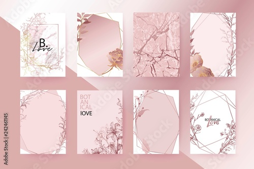 Rose gold marble texture card. Floral, lilies, roses bouquet wedding invitation design. Brochure, cover template.