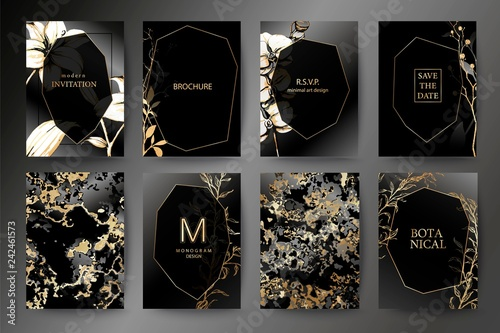 Set of elegant brochure, card, background, cover, wedding invitation. Orchid and lily flower.