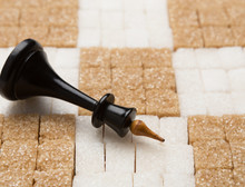 Chess Board Made Of White And Brown Sugar With King