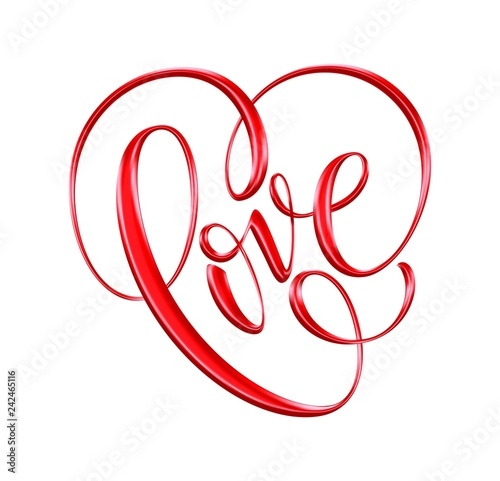 Obraz na plátně  Love red hand drawn brush calligraphy. Vector illustration