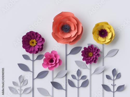 Fototapety na wymiar   3d-paper-flowers-isolated-on-white-background-decorative-design-elements-greeting-card
