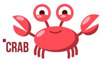 Funny Crab Vector. Icon. Shelf...