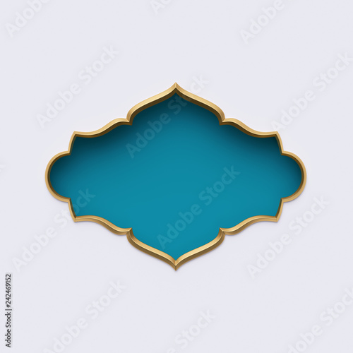 3d render, blue gold arabic frame, ornate shape, tribal decor, festive greeting Wallpaper Mural