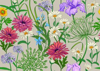 Panel Szklany Podświetlane Do przedpokoju Seamless summer pattern with wild flowers.