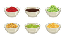 Set Of Different Sauces. Ketchup, Soy, Wasabi, Whole Grain Mustard, Guacamole, Sweet And Spicy Mustard Dipping Sauce. Vector Illustration Of  Ceramic Dip Bowl Isolated On White. Cartoon Flat Style.