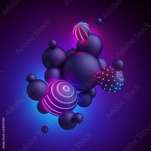 Carta da parati 3d render, abstract geometric background, neon light, ultraviolet spectrum, glow