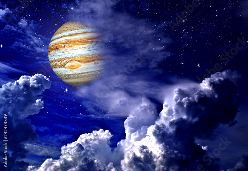 Planet Jupiter in the fairy sky. Elements of this image furnished by NASA