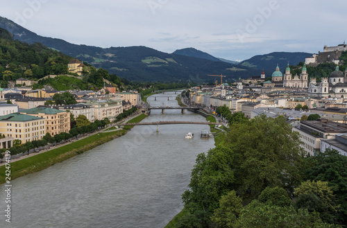 Fotobehang Liguria Salzburg, Austria - fourth-largest city of the country, birthplace of Wolfgang Amadeus Mozart, Salzburg is a UNESCO World Heritage Site due to its wonderful baroque architecture