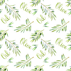 FototapetaFood green seamless pattern with olive branch and olive oil lettering in hand drawn watercolor style on white background. Vegetarian cuisine illustration.