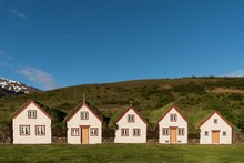 Old Icelandic Turf Houses Laufas, Open-air Museum, Eyjafjorour, North-Iceland, Iceland, Europe