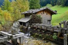 Historical Fradermuhle Am Seebach, Obernberg, Tyrol, Austria, Europe