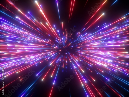Fototapety, obrazy: 3d render, violet red fireworks, abstract cosmic background, big bang, galaxy, falling stars, celestial, beauty of universe, speed of light, neon glow, cosmos, ultraviolet infrared light, outer space