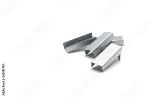Fotografie, Obraz  Metal staples for stapler on white background