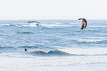 Kite Surfing In Big Waves On Windy Weather
