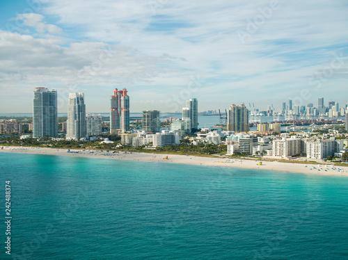 Poster Centraal-Amerika Landen Miami aerials beach scene