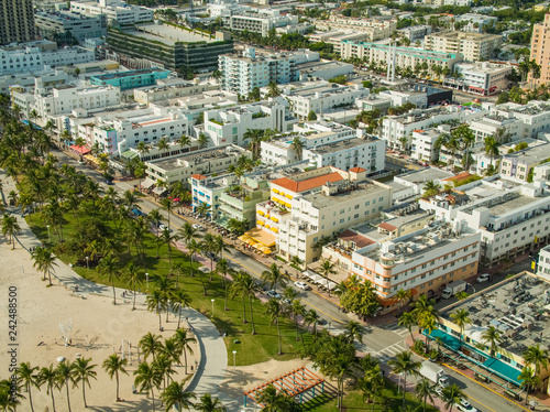 Poster Centraal-Amerika Landen Aerial Miami Beach Ocean Drive Lummus Park