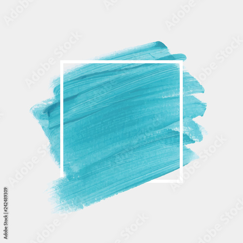 Brush painted watercolor background over square frame vector. Perfect creative design for logo, headline and sale banner.