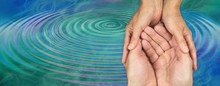 Carer's Loving Kindness Ripple Effect - Female Hands Gently Cupped Around Male Open Hands On A Blue Green Water Ripple Effect Background With Copy Space On Left Side