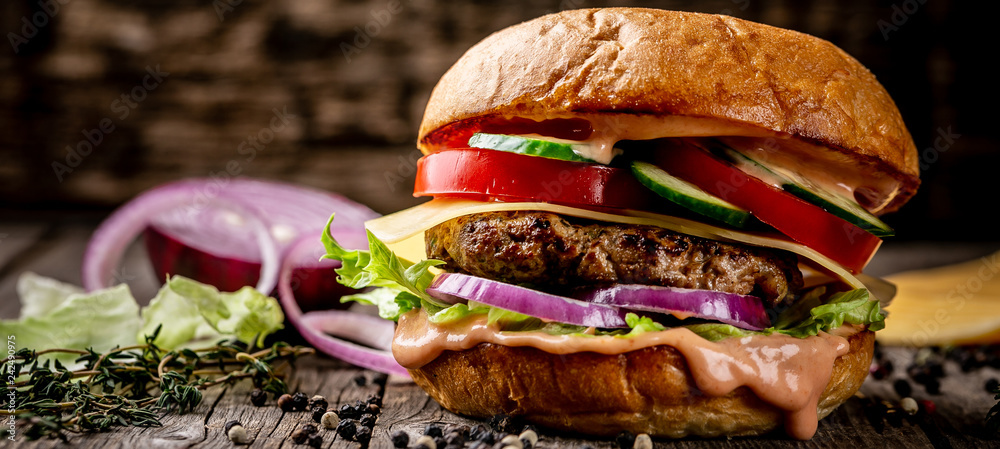 Fototapety, obrazy: hamburger with bacon and cheese. menu photo, copy space