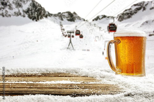 Foto op Canvas Bier / Cider Winter time in Alps and beer