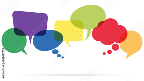 Fototapety, obrazy: colored speech bubbles in a row