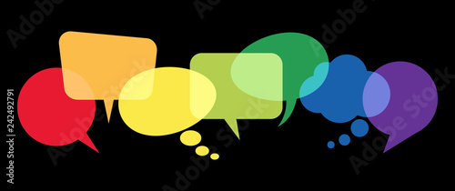 colored speech bubbles in a row Wallpaper Mural