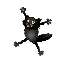 Funny Black Witch Cat Jumping ...