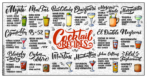 Photo  Lettering set of cocktails recipes