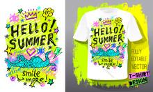 Trendy T-shirt Template, Fashion T Shirt Design, Bright, Summer, Cool Slogan Lettering. Color Pencil, Marker, Ink, Pen Doodles Sketch Style. Hand Drawn Illustration Vector.