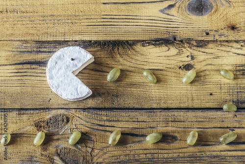 Fotografie, Obraz  Camembert with green grapes