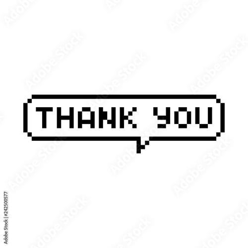 Pixel style text bubble Thank you - isolated vector