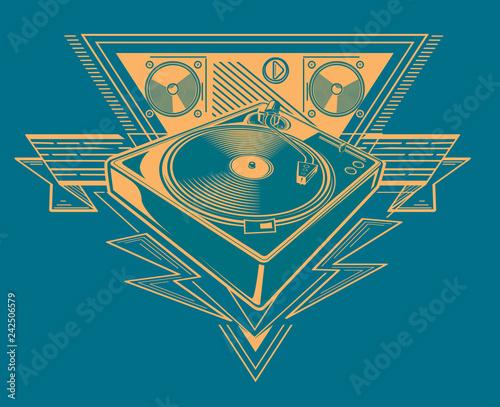 Turntable trendy music emblem Wallpaper Mural