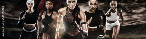 Group of five strong athletic women, sprinters, running on dark background wearing in the sportswear, fitness and sport motivation Canvas Print