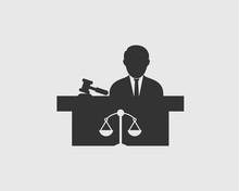 Male Judge Icon With Balance And Hammer Symbol