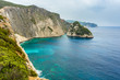 Greece, Zakynthos, Impressive cliffs at azure waters surrounding plakaki island