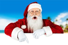 Portrait Of Surprised Santa Claus On White Background