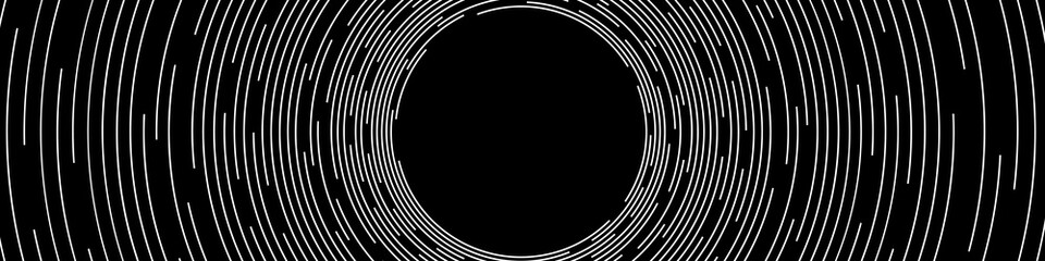 Abstract White Concentric Round Lines on Black Background - Wide Vector Illustration