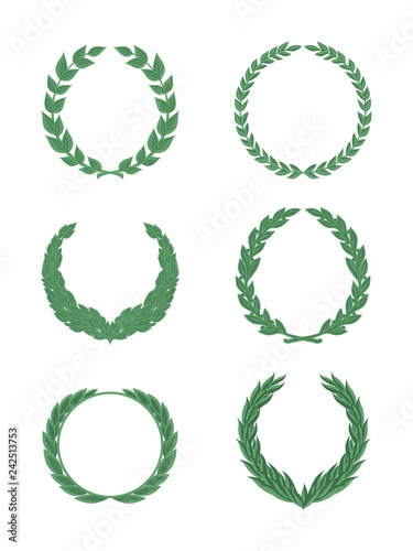 Fotografie, Obraz  set of green wreaths