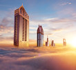 canvas print picture - Dubai sunset view of downtown covered with clouds