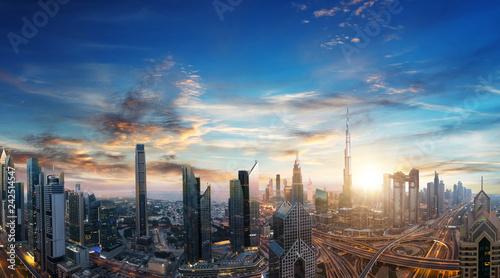 Canvas Prints Kuala Lumpur Dubai sunset panoramic view of downtown.