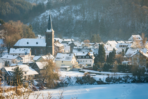 Canvas Prints Light pink Church Of Einruhr In Winter, Germany