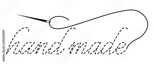 Silhouette Of The Words Hand Made With Interrupted Contour Vector